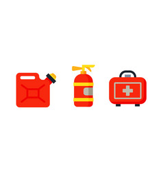 Safety car medical kit isolated canister fire vector