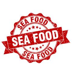 Sea food stamp sign seal vector