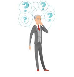 Senior caucasian businessman under question marks vector