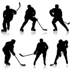 Set of silhouettes hockey player Isolated on vector image