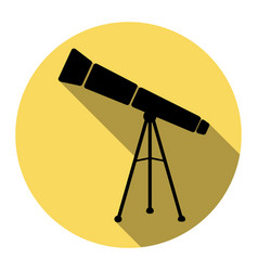 Telescope simple sign flat black icon vector