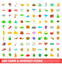 100 farm and harvest icons set cartoon style vector image vector image
