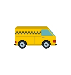 Yellow cargo taxi car icon flat style vector image