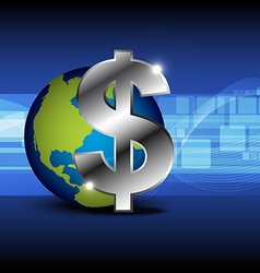 Icon money with globe vector