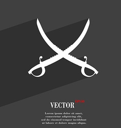 Crossed saber symbol flat modern web design with vector