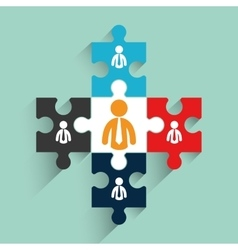 Pictograms puzzle teamwork support design vector