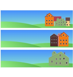 Banners with norwegian houses vector
