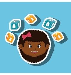 Child girl cartoon cubes alphabet letters vector