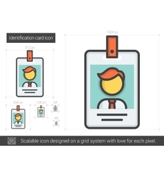 Identification card line icon vector