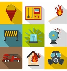 Protection from fire icons set flat style vector