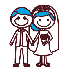 Hand drawing silhouette caricature groom with vector
