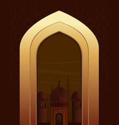 Islamic doorway view arabian night islamic vector