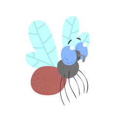 Cute cartoon fly insect character vector