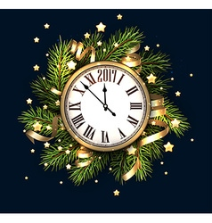 2017 new year card with clock vector