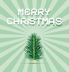 Retro green christmas card vector