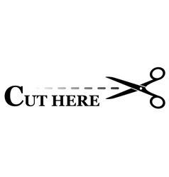 Sign with black scissors cutting lines vector