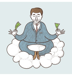 Businessman meditating vector