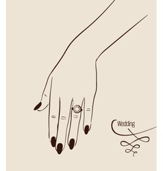 Woman hand wearing a wedding ring drawing vector