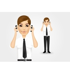 Businessman talking on two cell phones vector