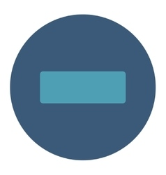 Minus flat cyan and blue colors round button vector
