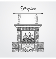 Hand drawn fireplace isolated on white background vector