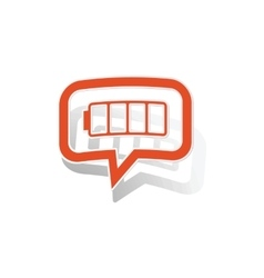 Empty battery message sticker orange vector