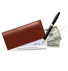 Brown checkbook vector