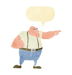 Cartoon angry tough guy pointing with speech vector