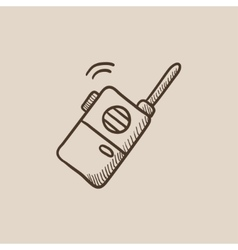 Portable radio set sketch icon vector