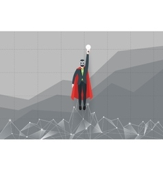 Abstract businessman in a suit superhero flies vector