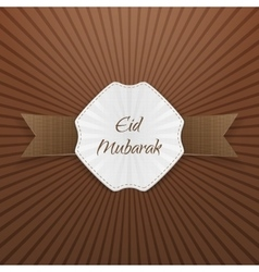 Eid mubarak greeting paper tag vector