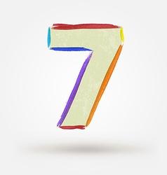 Alphabet letter number seven watercolor paint vector