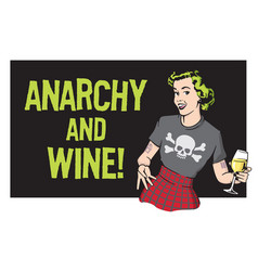 anarchy and wine punk rock housewife design vector image vector image