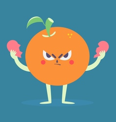 Angry orange tearing a heart apart vector