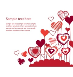 background with growing hearts vector image vector image