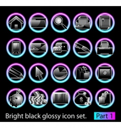 black glossy icon set 1 vector image vector image