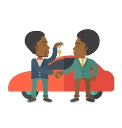 Black man handed a key to other black man vector image
