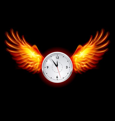 clock with fire wings on black background vector image vector image