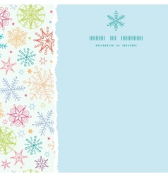 Colorful doodle snowflakes square torn frame vector
