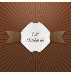 Eid mubarak greeting paper tag vector