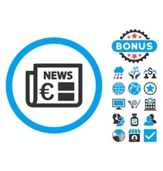 Euro Newspaper Flat Icon with Bonus vector image