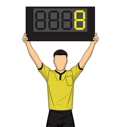 football referee shows extra time the soccer vector image vector image