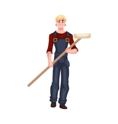 Full length portrait of house painter holding a vector image