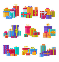 gift box packs composition event greeting object vector image vector image