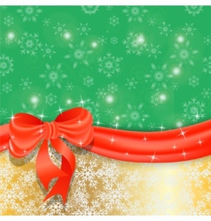Gold christmas background with ribbon and bow vector