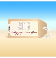 Greeting card with new year 2015 on the price tag vector image vector image