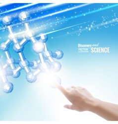 Hand touching chemical molecule vector image