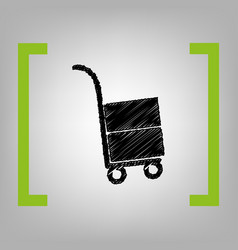 hand truck sign black scribble icon in vector image
