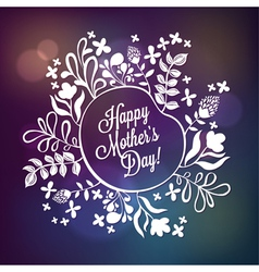 Happy Mothers Day Floral Wreath Blurred Background vector image vector image