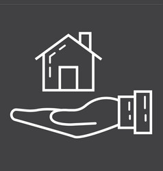 home in hand line icon business and finance buy vector image